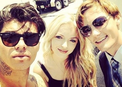 Andrew, Francesca and I taking a quick  selfie for her 21st birthday on set.